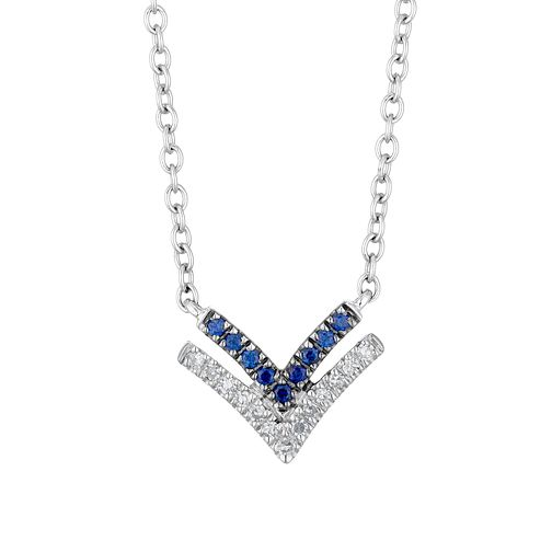 Vera Wang Silver, Sapphire & Diamond Chevron Pendant - Product number 3334481