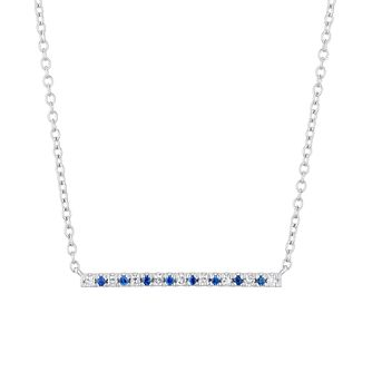 Vera Wang Sterling Silver, Sapphire & Diamond Bar Necklace - Product number 3334503