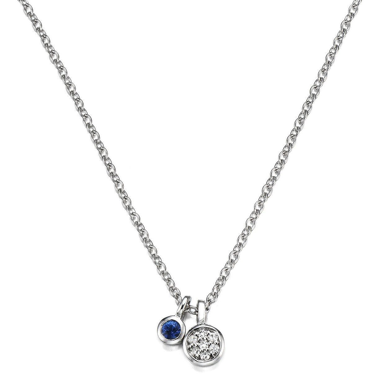 Vera Wang Sterling Silver Sapphire & Diamond Pendant - Product number 3334538