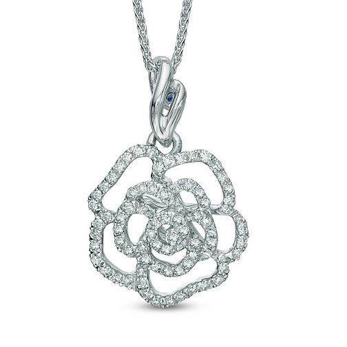 Vera Wang 14ct White Gold 0.23ct Diamond & Sapphire Pendant - Product number 3334554