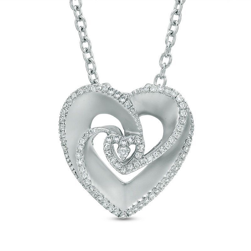 Vera Wang Silver 0.18ct Diamond And Sapphire Heart Pendant - Product number 3334562