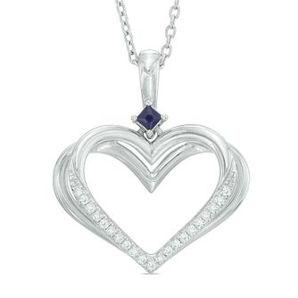 Vera Wang Silver Sapphire Diamond Heart Pendant - Product number 3334589