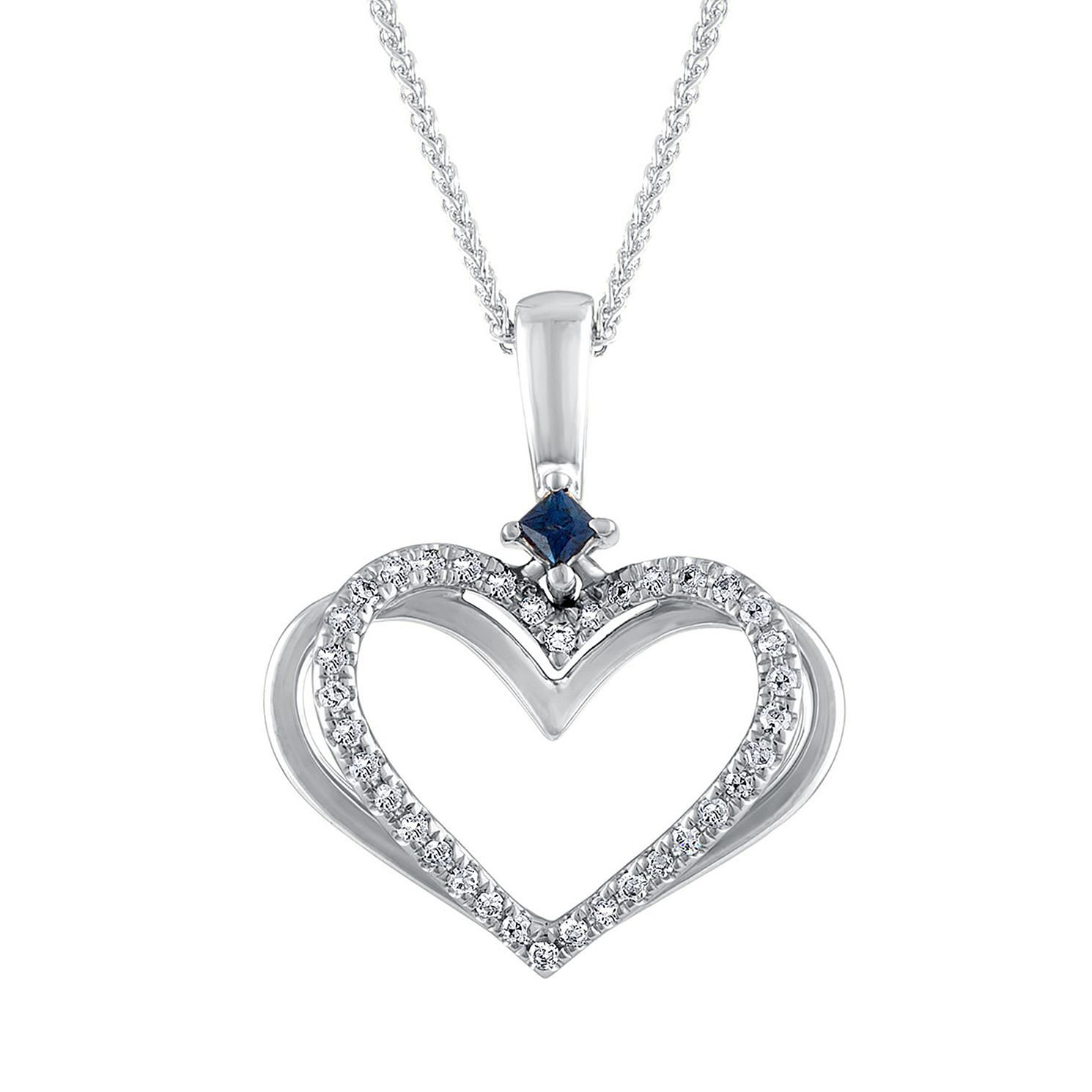 Vera Wang 18ct White Gold Diamond And Sapphire Heart Pendant - Product number 3334600