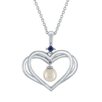 Vera Wang Kindred Heart Silver Pearl Sapphire Heart Pendant - Product number 3334627