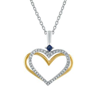 Vera Wang Silver & 18ct Gold Diamond Sapphire Heart Pendant - Product number 3334635