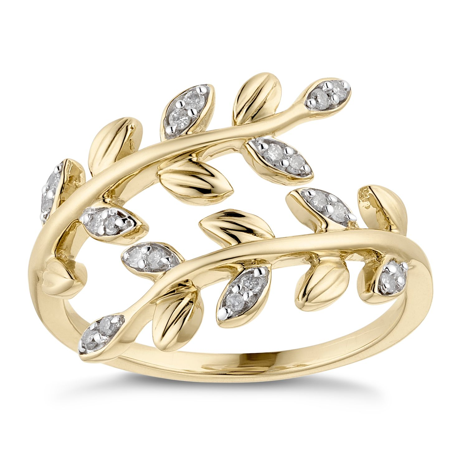 9ct Yellow Gold 1/10ct Diamond Double Leaf Eternity Ring - Product number 3335380