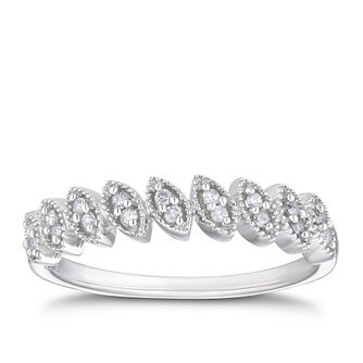 9ct White Gold 1/10ct Diamond Leaf Eternity Ring - Product number 3337111