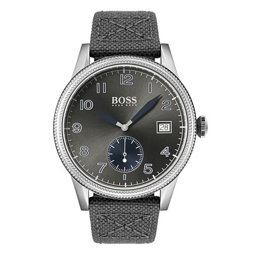 BOSS Legacy Men's Grey Fabric Strap Watch - Product number 3341909