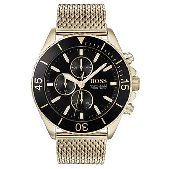 BOSS Ocean Edition Men's Gold Plated Bracelet Watch - Product number 3342026