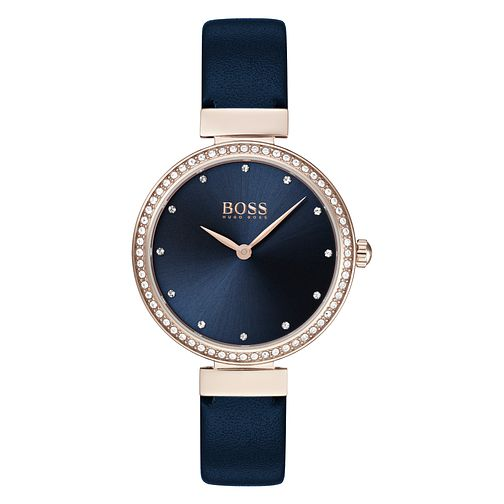 BOSS Celebration Ladies' Blue Leather Strap Watch - Product number 3342093