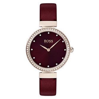 Hugo Boss Celebration Ladies' Red Leather Strap Watch - Product number 3343642