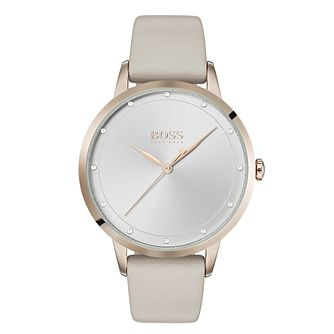Hugo Boss Twilight Ladies' Cream Leather Strap Watch - Product number 3346595