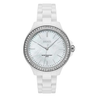 BOSS Victoria Ladies' White Ceramic Bracelet Watch - Product number 3348636