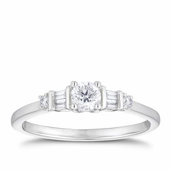 9ct White Gold 1/4ct Round & Baguette Diamond Ring - Product number 3351238