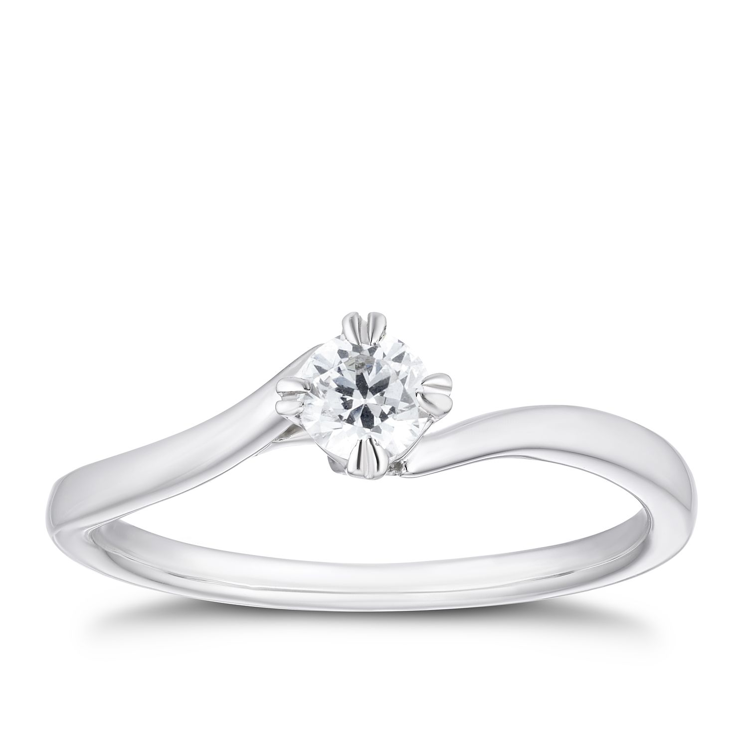 9ct White Gold 1/4ct Diamond Double Claw Solitaire Ring - Product number 3353737