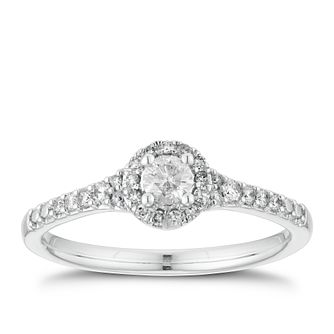 18ct White Gold 1/4ct Diamond Round Halo Ring - Product number 3353931
