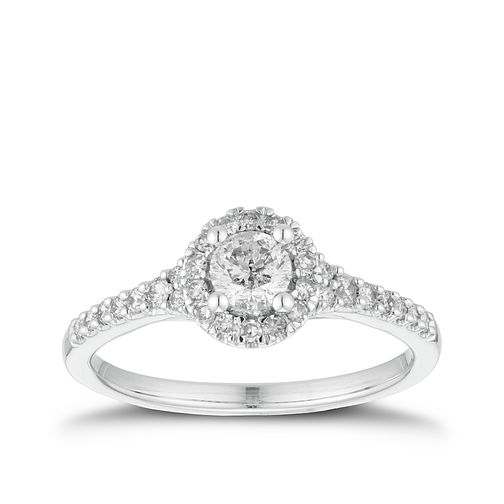 18ct White Gold 1/2ct Diamond Round Halo Ring - Product number 3354520