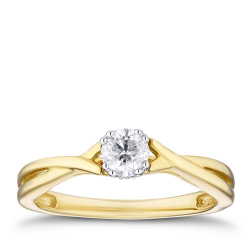 9ct Yellow Gold 1/4ct Diamond Solitaire Ring - Product number 3355241