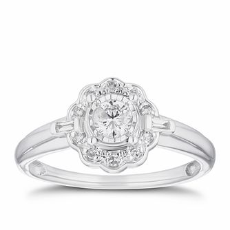 9ct White Gold 1/4ct Diamond Flower Ring - Product number 3355543