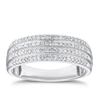 9ct White Gold 0.25ct Diamond Multiple Row Eternity Ring - Product number 3356620
