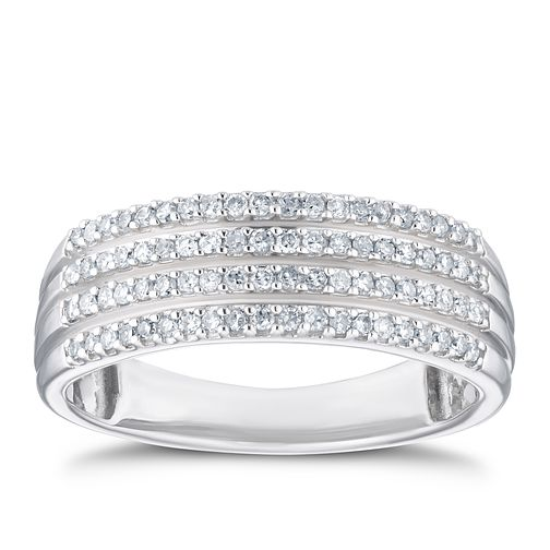 9ct White Gold 1/4ct Diamond Multiple Row Eternity Ring - Product number 3356620