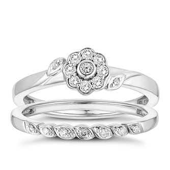 9ct White Gold 0.15ct Diamond Floral Perfect Fit Bridal Set - Product number 3360083