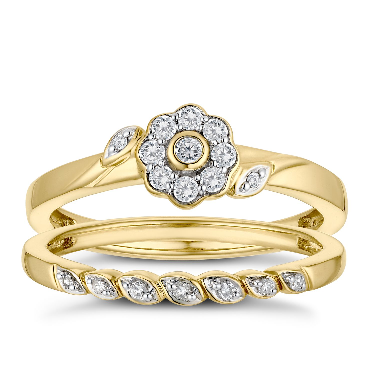 9ct Yellow Gold 0.15ct Diamond Floral Perfect Fit Bridal Set - Product number 3360547