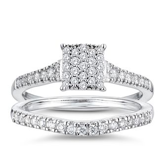 9ct White Gold 2/5ct Diamond Cushion Perfect Fit Bridal Set - Product number 3361128