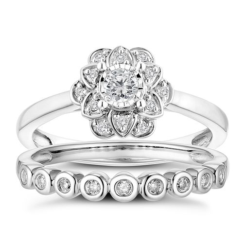 9ct White Gold 1/5ct Diamond Floral Perfect Fit Bridal Set - Product number 3363244