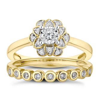 9ct Yellow Gold 1/5ct Diamond Floral Perfect Fit Bridal Set - Product number 3363554