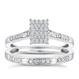 9ct White Gold 1/3ct Diamond Perfect Fit Bridal Set - Product number 3364011