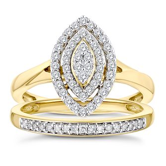 9ct Yellow Gold 1/3ct Diamond Perfect Fit Bridal Set - Product number 3364283