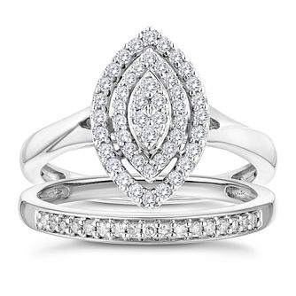 9ct White Gold 2/5ct Diamond Marquise Perfect Fit Bridal Set - Product number 3364445
