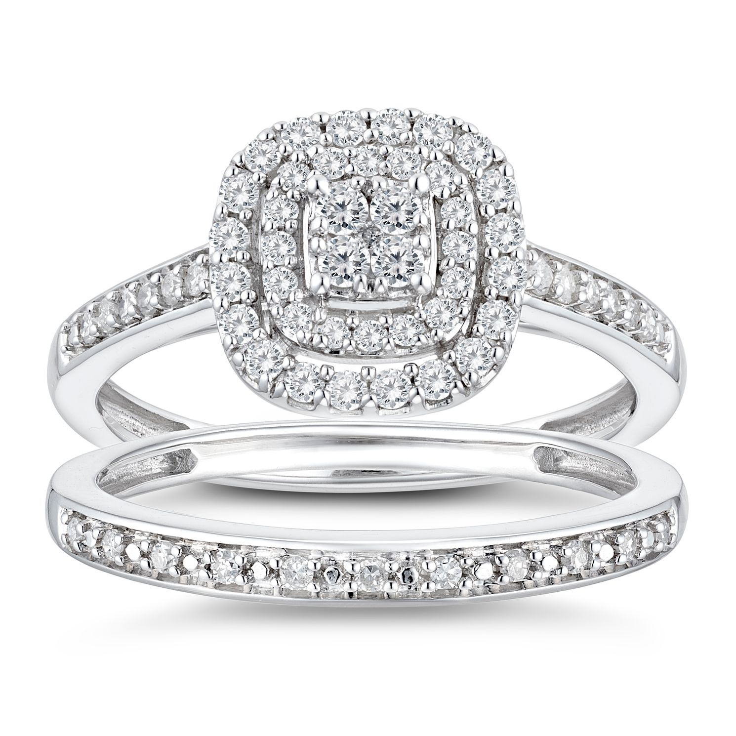 Perfect Fit 9ct White Gold 2/5ct Diamond Cushion Bridal Set - Product number 3364615