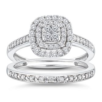 9ct White Gold 2/5ct Diamond Cushion Perfect Fit Bridal Set - Product number 3364615