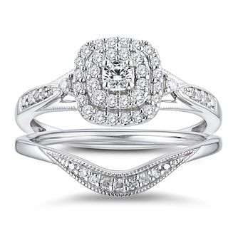 9ct White Gold 1/3ct Diamond Cushion Perfect Fit Bridal Set - Product number 3364763