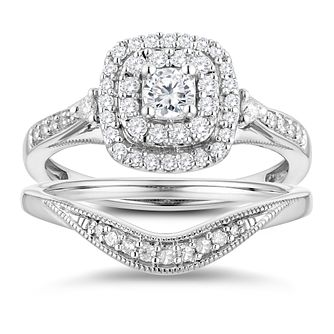 Perfect Fit 9ct White Gold 1/2ct Diamond Cushion Bridal Set - Product number 3364909