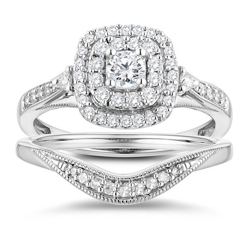 9ct White Gold 1/2ct Diamond Cushion Perfect Fit Bridal Set - Product number 3364909