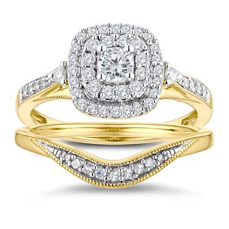 9ct Yellow Gold 1/2ct Diamond Cushion Perfect Fit Bridal Set - Product number 3365204