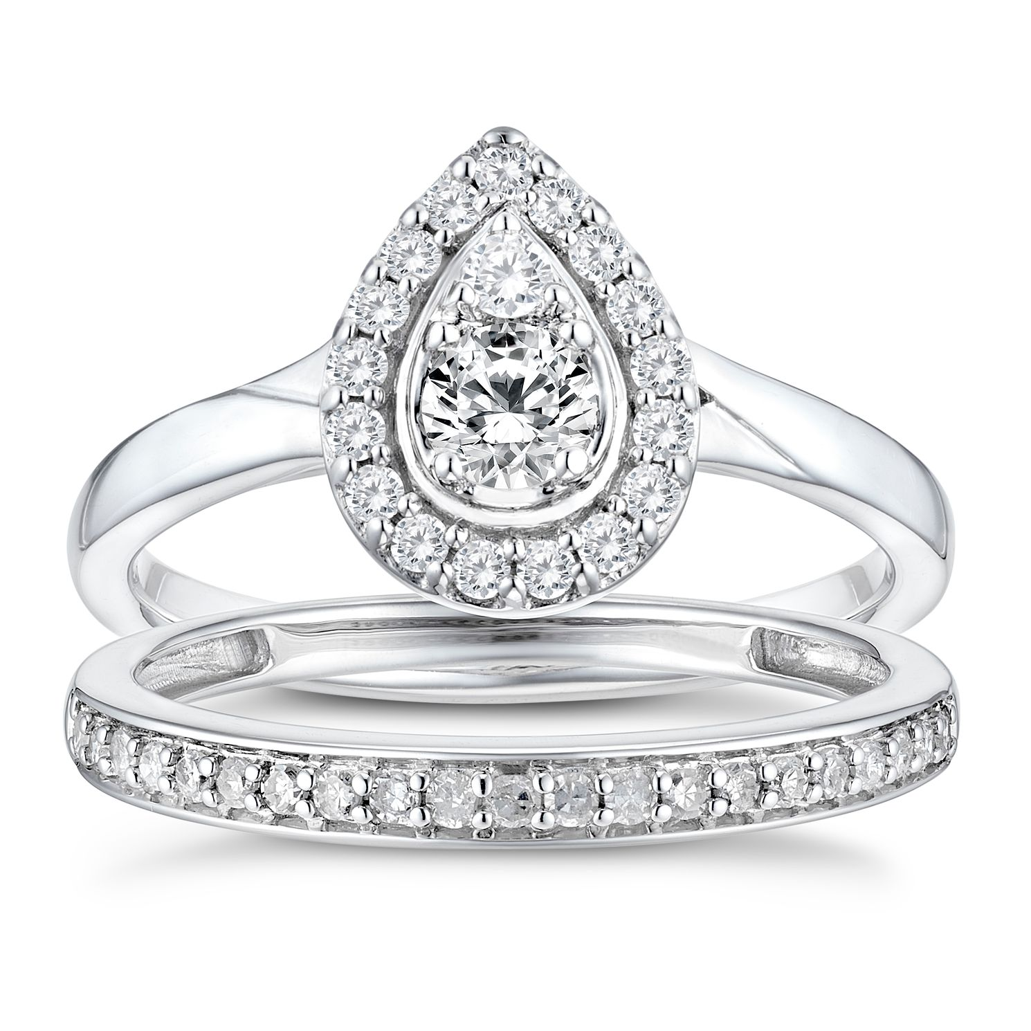 9ct White Gold 1/2ct Diamond Pear Perfect Fit Bridal Set - Product number 3365581
