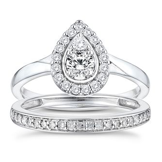 Perfect Fit 9ct White Gold 1/2ct Diamond Pear Bridal Set - Product number 3365581