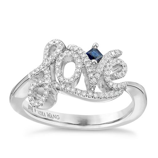 Vera Wang Silver 0.18ct Diamond And Sapphire Love Ring - Product number 3366510