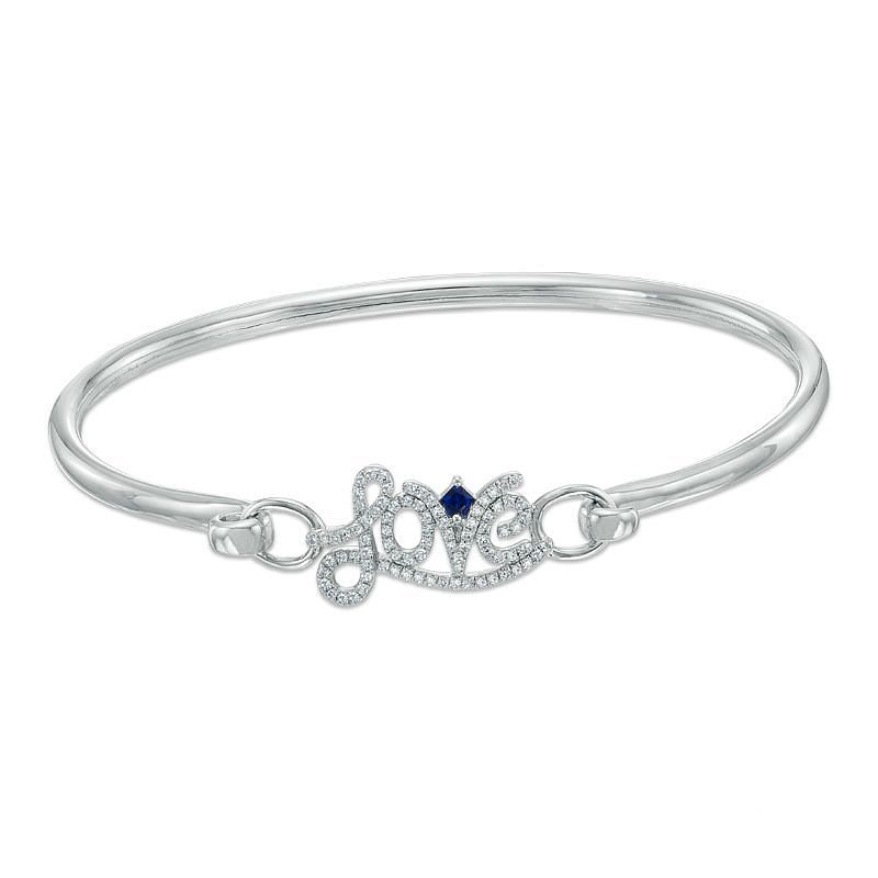 Vera Wang Silver 0.23ct Diamond & Sapphire Love Bangle - Product number 3367134