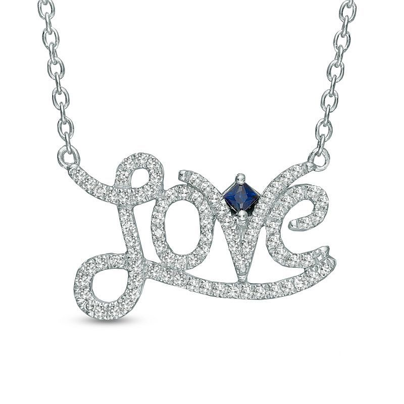 Vera Wang Silver 0.18ct Diamond And Sapphire Love Necklace - Product number 3367142
