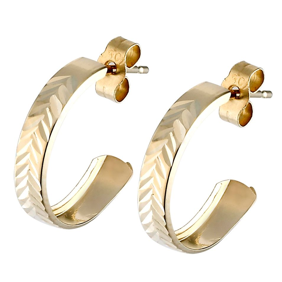 9ct Yellow Gold Diamond Cut Earrings - Product number 3368602
