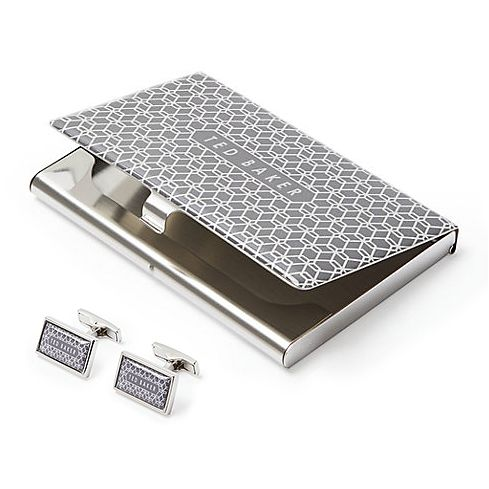 Ted Baker Ebor Men's Grey Cufflinks & Card Holder Gift Set - Product number 3372626