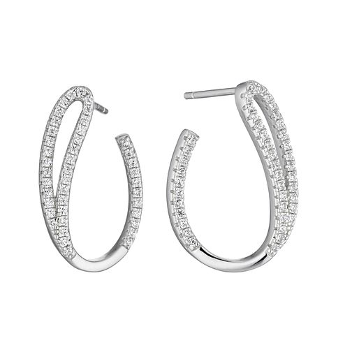 Silver Cubic Zirconia J Curve Earrings - Product number 3374556