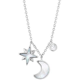 Silver Cubic Zirconia & Mother Of Pearl Moon & Star Necklace - Product number 3374572