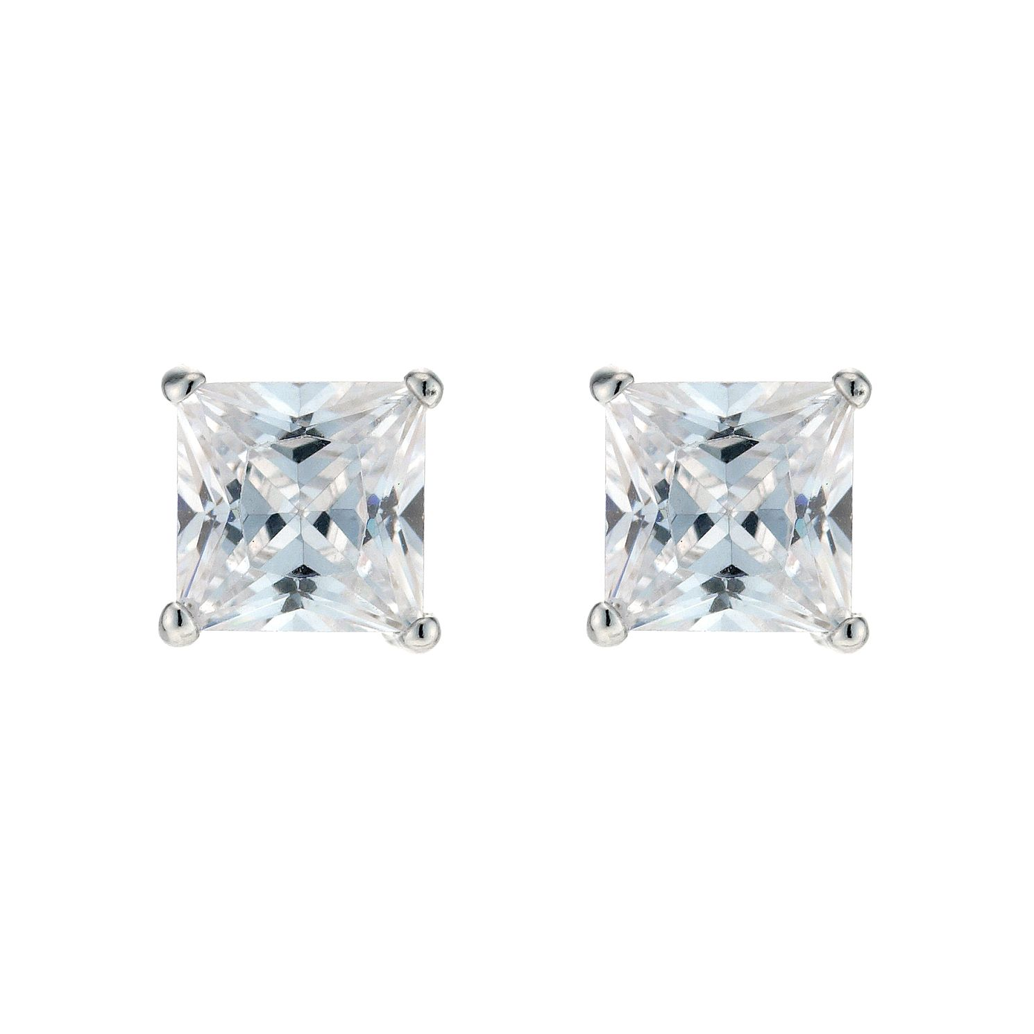 Square Silver Cubic Zirconia Earrings - Product number 3374777