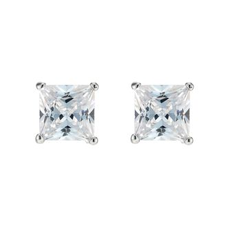 Sterling Silver Cubic Zirconia 5mm Square Stud Earrings - Product number 3374777